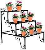 Sorbus 3-Tier Flower Plant Stand – Rectangular Shelf Step Design – Ideal Flower Pot Holder for Home, Garden, Patio, Plant Lovers, Housewarming, Mother's Day (3 Step (Black)) Review