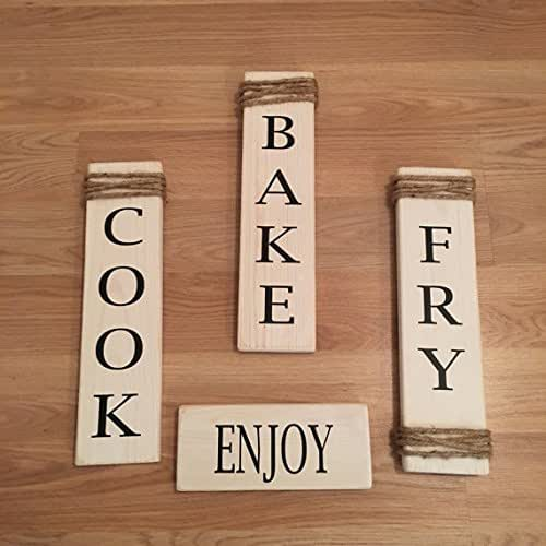Amazon.com: Rustic Set Of 4 White Wooden Kitchen Signs