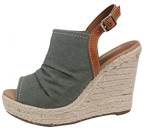 Soda Women's Open Toe Ruched Canvas Espadrille Platform Wedge Khaki 7.5 (Canvas Open Toe Wedge Heel)