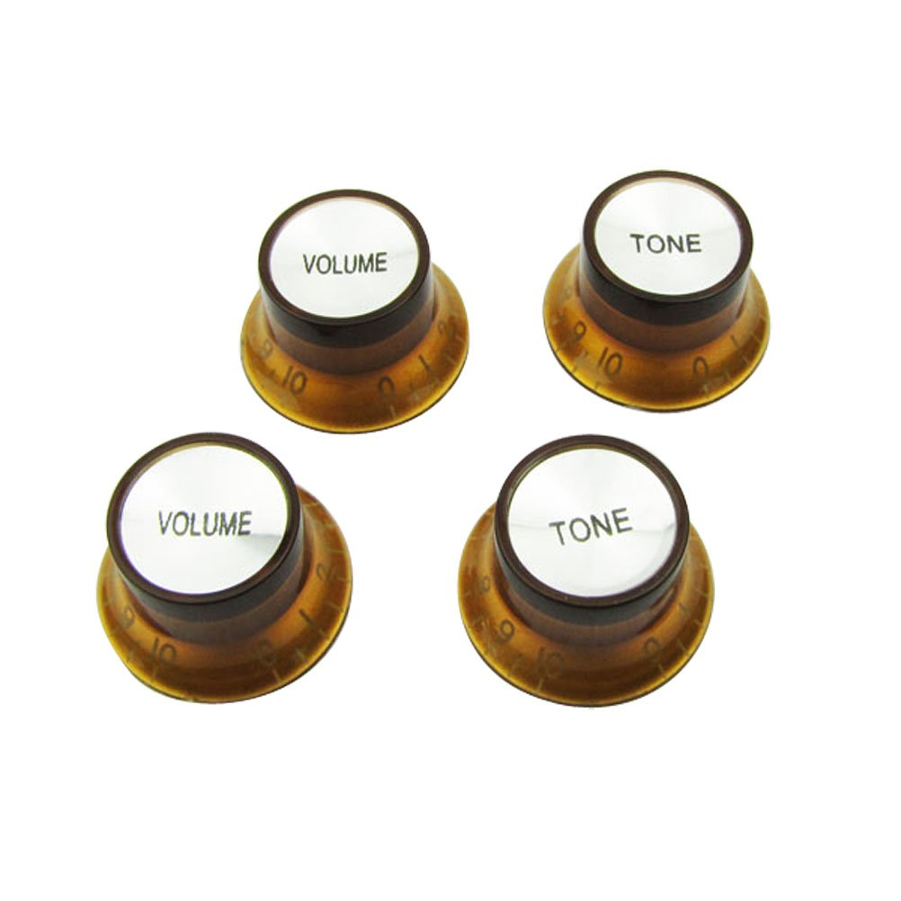 Musiclily Metric Size Plastic Top Hat style 2 Volume and 2 Tone Speed Control Knobs Set for Gibson Les Paul Electric Guitar Replacement, Amber M838-2M839-2