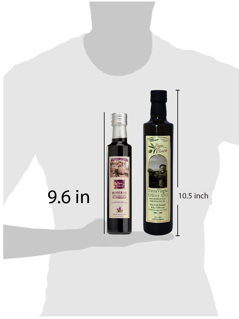 Papa Vince Olive Oil Extra Virgin + Balsamic Vinegar: EVOO First Cold Pressed 16.9 fl oz, Aged 8-years in wood 8.5 fl oz, Italian Salad Dressing Ingredients - Produced by our family in Sicily by Papa Vince (Image #5)