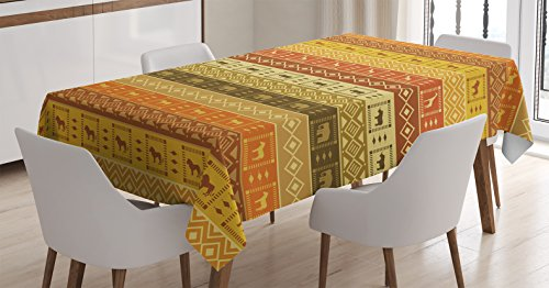 Safari Decor Tablecloth by Ambesonne, Safarisquare Diamond Pattern on Striped Background Native Tribal Artwork, Dining Room Kitchen Rectangular Table Cover, 60 X 90 Inches Safari Table Cover