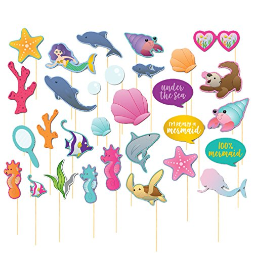Mermaid Photo Booth Props - 30-Pack Mermaid Party Supplies, Theme Birthday Party Supplies for Girls, Baby Shower Party Favors, Selfie Props, Decoration Accessories on Bamboo Sticks, Assorted Designs ()