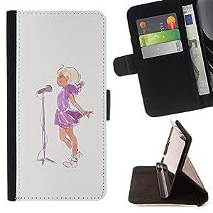Momo Phone Case / Flip Funda de Cuero Case Cover - Cantante Acuarela Pintura Micrófono - Samsung Galaxy S5 Mini, SM-G800