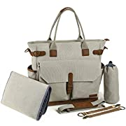 Truemate Diaper Bag Large Tote Cross Body Weekender Organizer For Mom With Girls & Boys Changing Pad, Stroller Straps and Bottle Holder - Designer Canvas