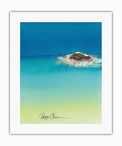 Pacifica Island Art Beach Bum - Hawaiian Monk Seal Basking on Tiny Island (Mokupuni) - From an Original Hawaii Watercolor Painting by Peggy Chun - Fine Art Rolled Canvas Print - 16in x 20in
