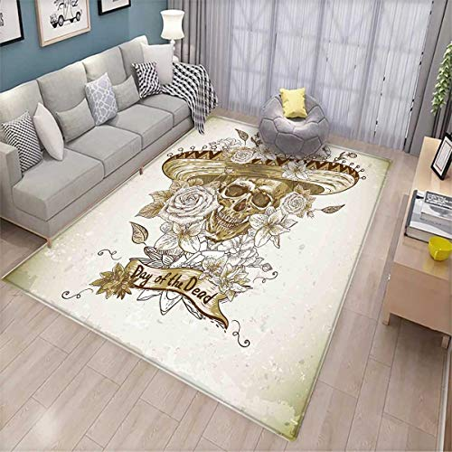(Day of The Dead Anti-Static Area Rugs Wooden Floral Leaves with Mexican Spanish Festival Hat Traditional Print Children Kids Nursery Rugs Floor Carpet Khaki Beige)