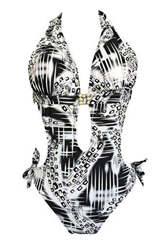 Le Besi Mujer Fashion One Piece elegante inspirado en bañador Negro Blanco