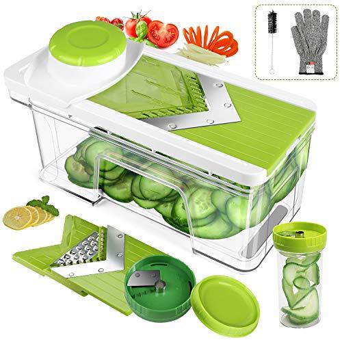 ONSON Adjustable Mandoline Slicer with Spiralizer Vegetable Slicer - V Blades Food Slicer Veggie Slicer Cutter Zoodle Maker - Vegetable Spiralizer with Julienne Grater (Green)