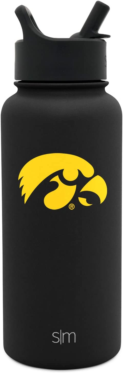 Simple Modern Iowa Hawkeyes 32oz Summit Water Bottle with Straw Lid - Mens Womens Gift University NCAA College Vacuum Insulated Stainless Steel Travel Flask