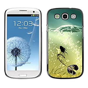Design for Girls Plastic Cover Case FOR Samsung Galaxy S3 Mermaid Whale Ocean Turquoise Art Bubbles OBBA