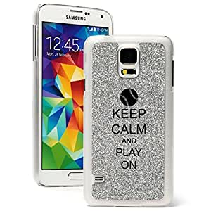 Samsung Galaxy S5 Glitter Bling Hard Case Cover Keep Calm and Play On Baseball Softball (Silver)
