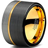 Midnight Rose Collection Tungsten Wedding Band Ring 12mm for Men Women Black & 18K Yellow Gold Plated Offset Line Flat Half Brushed Polished Size 4
