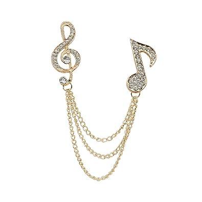 ea9d493b625 Crystal MUSIC SYMBOL Brooch Collar Lapel Pins Tip Gift Unisex-Gold/Silver