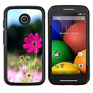 Purple Flower Valley- Metal de aluminio y de plástico duro Caja del teléfono - Negro - Motorola Moto E / XT1021 / XT1022