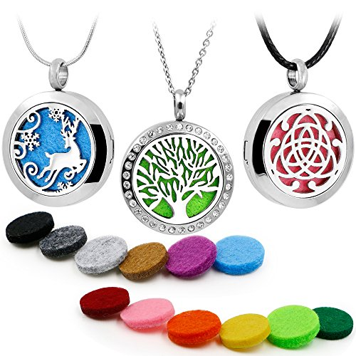 3PCS Aromatherapy Essential Oil Diffuser Locket Pandent Necklaces Mixed Style Tree of Life-Reindeer-Celtic Perfume Jewelry with Cross/Snake Chain & Waxed Rope+12 Color Felt Pads - Snake Perfume
