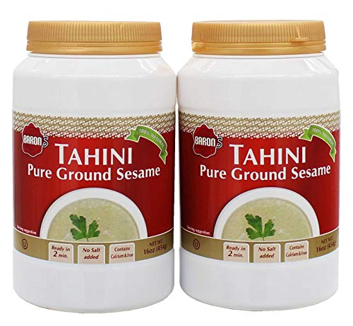 Baron's Kosher 100% Pure Ground Sesame Tahini 16-ounce Jars (Pack of 2).