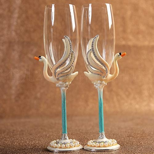 Enamel Painting Pearls - 1 Pair Red Wine Glass Enamel Pearl Wine Glass Wedding Gift Swan Rhinestone Goblet Couple Pair Cup Creative Gift Champagne Glass