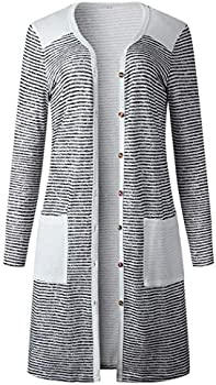 Cokil Womens Button Closure Striped Print Long Knit Cardigan