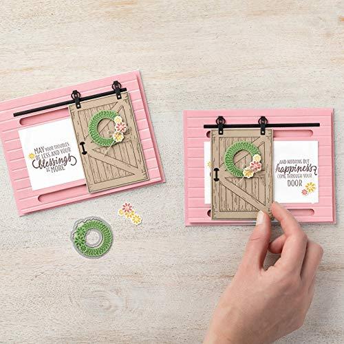 Davitu Barn Door Dies Stamp Set 15Pcs 1414cm 168112mm Clear Stamps Metal Cutting Dies for Scrapbooking DIY Card Making Color: Clear Stamps