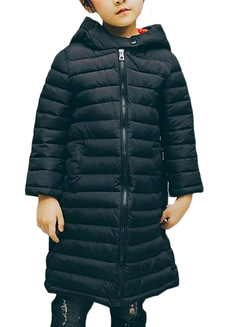 YULEgowinner Girls and Boys Childrens Children Outdoors Quilted Parkas Mid-Long Hoodie Down Coat Black 6T