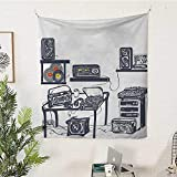 sunsunshine Modern Rectangular Tapestry Recording-Studio-with-Music-Devices-Turntable-Records-Speakers-Digital-Illustration Tapestry Throwing Blanket 70W x 93L INCHCadet-Blue