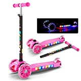 FUNANDTRICKRIDEONS Mini Fordable Kick Scooter, 4 wheel With lights Glowing Scooter, 4 step Adjustable handlebar Led Flashing Pu Wheels For boys Kids Girls Age 3-10-I 56x13cm(22x5inch)