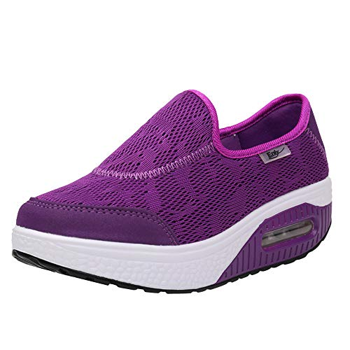 Fitness Violet Baskets Casual de Chaussures Plat Gym Chaussures Femme Respirantes Sport Casual Respirant Femme Chaussures NINGSANJIN Femme Compenses Sneakers Mode Fond Chaussures Mode Running Marcher SPwaBdSq