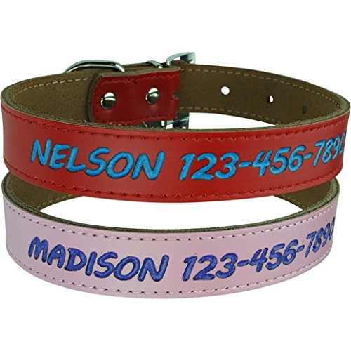 - Custom Catch Personalized Dog Collar Leather in Small, Medium or Large, Pink or Red, No Engraved ID Tags or Embroidered Pet Collars