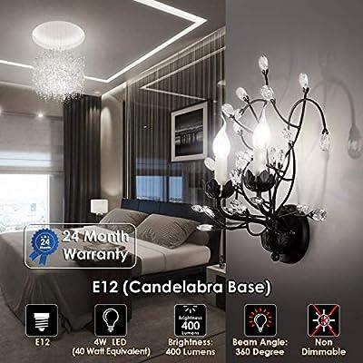 Albrillo Chandelier Light Bulbs, Candelabra LED Bulbs 40 Watt Equivalent, E12 LED Bulb, Natural White 4000K, Non-Dimmable Lamp, Pack of 6