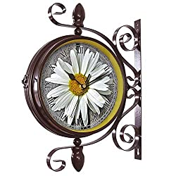 Wrought Iron Antique-Round clock Wall Retro Station Chandelier Double Sided Wall Clock -360 Degree Quiet Grand Central Station Wall Clock223.Flower, Marguerite, Meadow Margerite, Blossom, Bloom