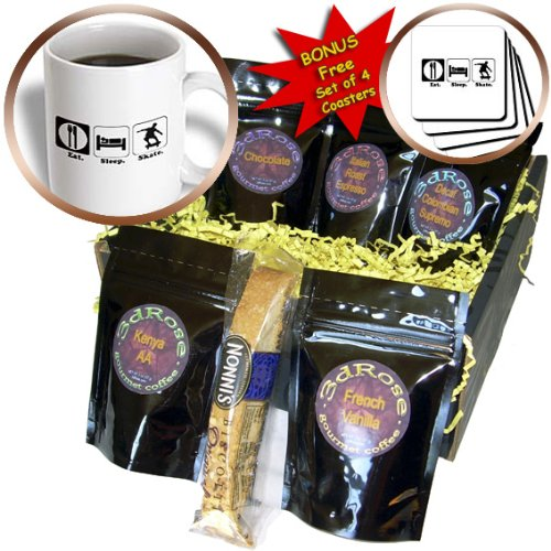 Dooni Designs Funny Eat Sleep Road Sign Hobbies Designs - Funny Hobby Lifestyle Design Eat Sleep Skateboard - Coffee Gift Baskets - Coffee Gift Basket (cgb_116986_1)