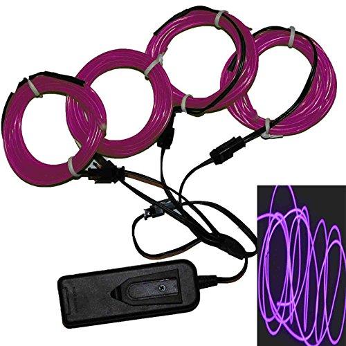 4 x 3ft - TDLTEK Neon Glowing Strobing Electroluminescent Wire /El Wire + 3 Mode Battery Controller and 4 Way Splitter, Purple -