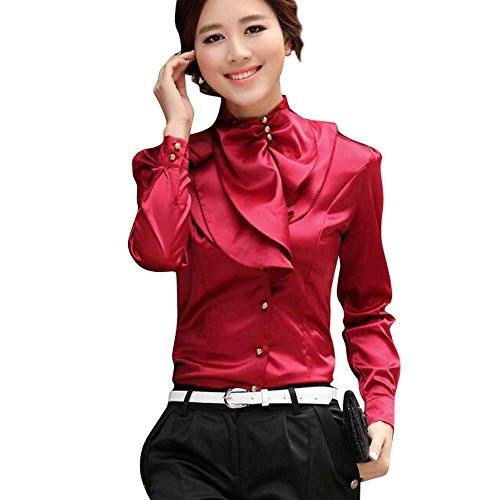 Collar Stand Ruffle Shirt (Aro Lora Women's Long Sleeve Stand Collar Lotus Leaf Ruffle Shirt Blouse Medium Red)