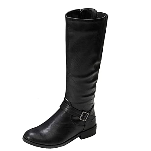 a404b62efef18 Vitalo Womens Low Heel Wide Calf Knee High Zip Up Leather Horse Riding Boots  Size 2UK