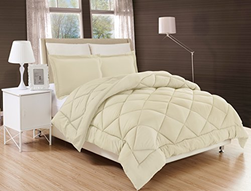 Gorgeous Home Down Alternative Comforter Bed Cover 2/3pc Set With Pillow Shams Ultra Soft Double Filled Stitched Quilted Solid Plain Light Weight Bedding Dressing (TAUPE TAN, TWIN)