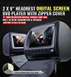 Cheap 2018 Black Digital Color Pair Headrest With 9″ LCD Car DVD Player Monitors with Dual DVD players USB SD Inc. 2 Wireless Dual Channel Headphones, Games and 2 Wireless game controllers …