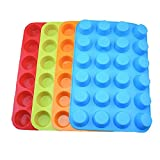 Set of 4 Silicone Mini Muffin Pan, 24 Cups Silicone Mold Cups Baking Pan, Silicone Muffin Tins Baking Moulds—-Orange, Red, Blue and light green