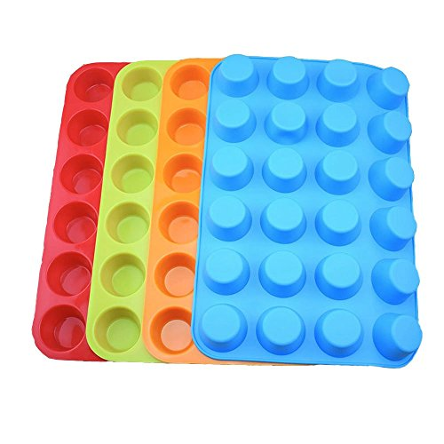 Set of 4 Silicone Mini Muffin Pan, 24 Cups Silicone Mold Cups Baking Pan, Silicone Muffin Tins Baking Moulds--Orange, Red, Blue and light green