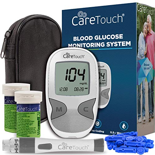 Care Touch Diabetes Testing Kit - Care Touch Blood Glucose Meter, 100 Blood Test Strips, 1 Lancing Device, 30 gauge Lancets-100 count and Carrying Case