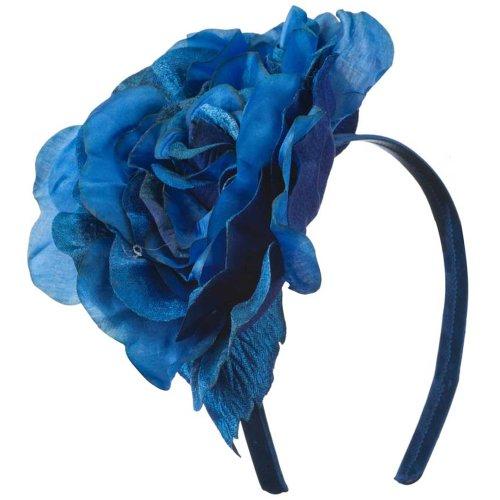 6 Inch Flower Satin Covered Headband - Blue OSFM