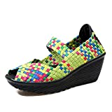 EnllerviiD SDF667667lvcaise37 Women Woven peep Toe Platform Wedges Summer Sandals Multicolor Mary Jane Shoes Green 6 B(M) US