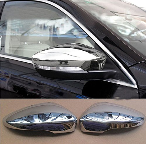 Amooca Full Chrome exterior Rearview Mirror housing Trim Molding Covers Kit For 2010 2011 2012 2013 Volkswagen CC with LED hole 2pcs