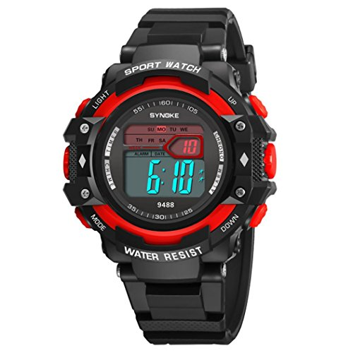 SYNOKE Waterproof Men's LED Digital Quartz Sports Watch (Red) - 3