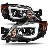 For 08-14 Subaru Impreza WRX STI [Halogen Type] LED DRL Tube Black Bazel Projector Headlights