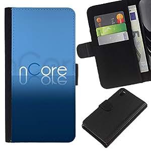 KLONGSHOP // Tirón de la caja Cartera de cuero con ranuras para tarjetas - Texto azul torrent Programa de Cartas - Sony Xperia Z3 D6603 //