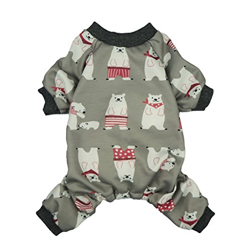 Fitwarm Polarbear Pet Clothes for Dog Pajamas Shirts Jumpsuit Grey Cotton Medium by Fitwarm