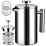 BAYKA Stainless Steel French Press Double-Wall Stainless Steel Coffee & Tea Maker, Extra Stainless Steel Screen, Rust-Free, Dishwasher Safe