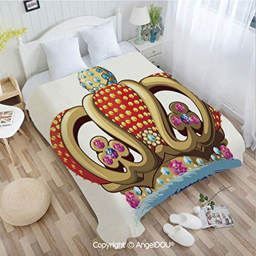 AngelDOU Warm air Conditioner Flannel Blanket W59 xL78 Royal Family Nobility Crown with Colorful Ornaments Image for Sovereign Print Decorat for Bed Cover Sofa car use.