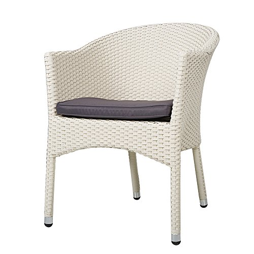 KARMAS PRODUCT Outdoor Dining Rattan Chairs Patio Garden Furniture with Seat Cushions,Weave Wicker Armchair 1 PC (White) (White Wicker Armchairs)